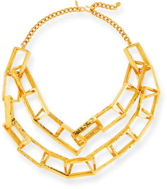 Kenneth Jay Lane Short Gold-Plated Box Chain Necklace
