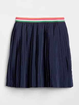 Gap Stripe-Waistband Pleated Skirt