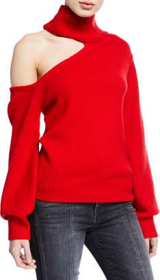 Alice + Olivia Cold-Shoulder Wool Turtleneck Sweater