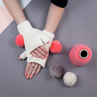 Lowie Cream Super Pom Fingerless Gloves