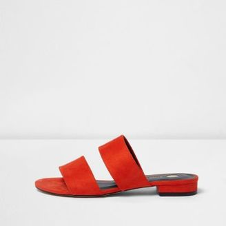 River Island Womens Red two strap mules