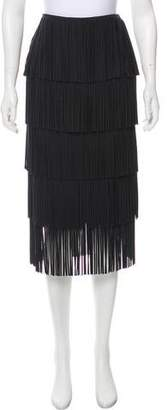 Tom Ford Fringe-Tiered Midi Skirt w/ Tags