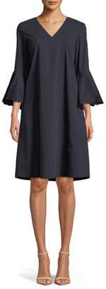 Lafayette 148 New York Holly Expedition-Cloth Ruffle-Cuff Shift Dress