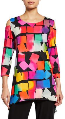 86da095d228 Caroline Rose Kaleidoscope-Print Cold-Shoulder 3/4-Sleeve Tunic