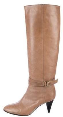Loeffler Randall Leather Round-Toe Knee-High Boots