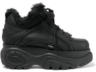 Junya Watanabe + Buffalo London Faux Fur-lined Leather Platform Sneakers