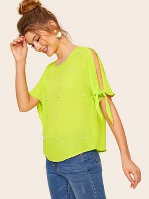 Shein Neon Lime Pearls Beaded Knot Split Sleeve Top