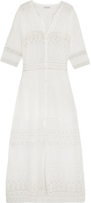 LoveShackFancy - Beth Crocheted Lace-paneled Cotton Maxi Dress - Ivory $365 thestylecure.com