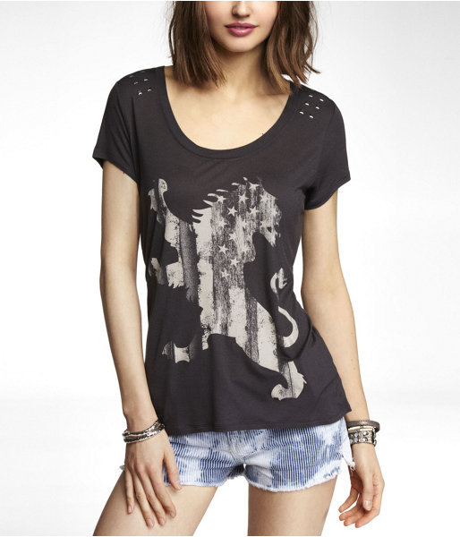 Express Studded Scoop Neck Graphic Tee - Lion Flag