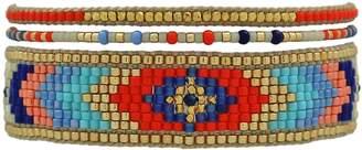 LeJu London - Multicolor Bracelet Set Adorned with Gold Filled Faceted Beads