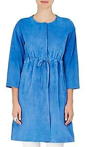 Lisa Perry WOMEN'S SUEDE DRAWSTRING COAT - BLUE SIZE 2