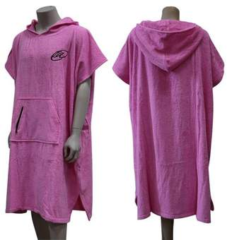 Elegantoss Pink Adults Women Cotton Surf Beach Poncho Cover up Hooded Changing Bath Robe Towel with Pocket for Ladies