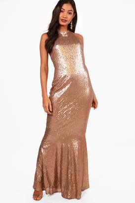 boohoo Boutique Celia Sequin Open Back Maxi Dress