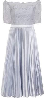 Dorothy Perkins Womens *Chi Chi London Blue Lace Bardot Midi Skater Dress