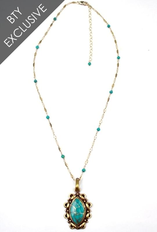 Natalie B. Tibet Pendant on Chinese Turquoise