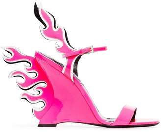 Prada pink and white flame 100 patent leather wedge sandals