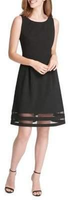 Tommy Hilfiger Scuba Sheer Hem Fit-and-Flare Dress