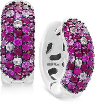 Effy Ruby Pavé Huggy Hoop Earrings (1-3/8 ct. t.w.) in Sterling Silver