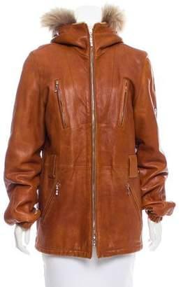 Post Card Fur-Trimmed Leather Jacket