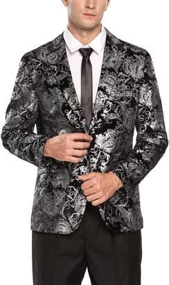Coofandy Mens Fashion Lapel Glitter Floral Print Slim Fit Two Button Blazer Jacket