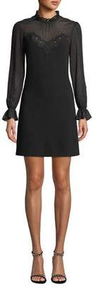 Rebecca Taylor Mock-Neck Long-Sleeve A-Line Dress w/ Lace & Ruffle Details