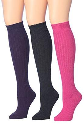 cb88f4aa6ff Tipi Toe Women s 3-Pairs Ribbed Cable Knee High Wool-Blend Boot WiNTER Socks