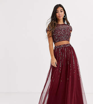 Maya Petite Bridesmaid delicate sequin tulle skirt two-piece in wine