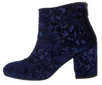 Stuart Weitzman Velvet Embroidered Ankle Boots