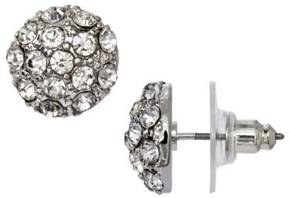 Rhinestone Cluster Earrings - Clear