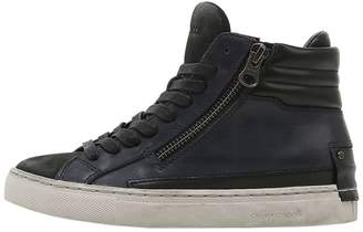 Double Zips Leather High Top Sneakers