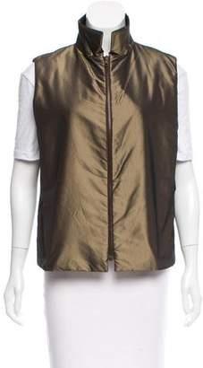 Dusan Silk Standing Collar Vest