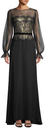 Tadashi Shoji Long-Sleeve Lace Illusion & Crepe Gown