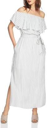 1 STATE 1.STATE Off-the-Shoulder Striped Maxi Dress