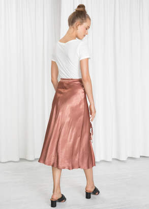 Duo Bow Slit Midi Skirt