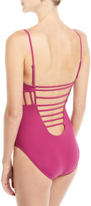 Red Carter Side Cutout Maillot One-Piece Swimsuit