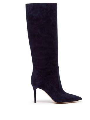 Gianvito Rossi Slouchy 85 Knee High Suede Boots - Womens - Navy