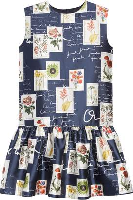 Oscar de la Renta Botanical Flowers & Scribbles Dress