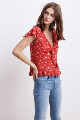 Velvet by Graham & Spencer SHANOLA SPRING FLORAL CHALLIS KNOT TOP