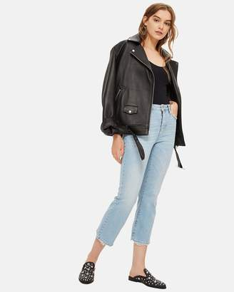 Topshop MOTO Dree Cropped Kick Flared Jeans