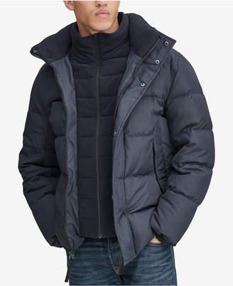Andrew Marc Men's Down Puffer Jacket with Fleece Bib