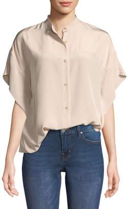 Diane von Furstenberg Short-Sleeve Silk Button-Down Top