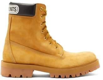 Vetements Logo Cuff Suede Trucker Boots - Mens - Beige