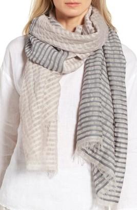 Women's Eileen Fisher Stripe Organic Cotton & Linen Scarf $98 thestylecure.com