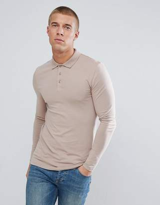BEIGE Asos Design ASOS Long Sleeve Muscle Fit Jersey Polo In