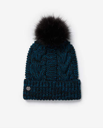 Express Marled Cable Knit Pom Beanie
