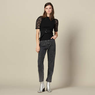 Sandro T-Shirt With Guipure Sleeves