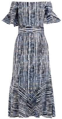 Goat Fantasy Batik Striped Print Cotton Blend Dress - Womens - Blue Stripe
