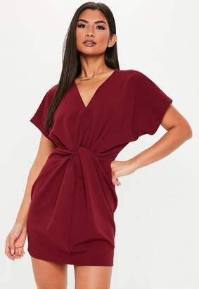 Missguided Burgundy Knot Front Short Sleeve Shift Dress