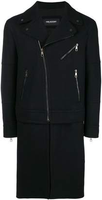 Neil Barrett zippers single breasted coat