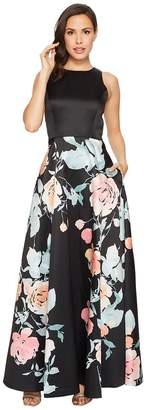 Tahari ASL Mikado Fit and Flare Floral Bottom Gown Women's Dress